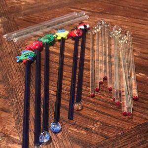Lot of 22 glass stir sticks